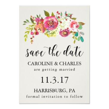 save the date pink watercolor floral rustic boho