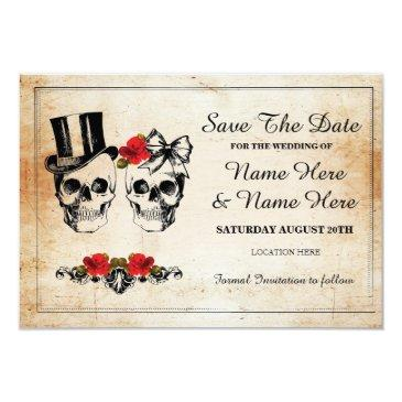 save the date rustic skulls roses