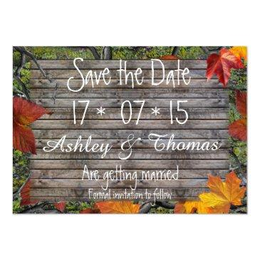 Small Save The Date Rustic Wood Camo Fall Leaves Magnetic Invitation Front View