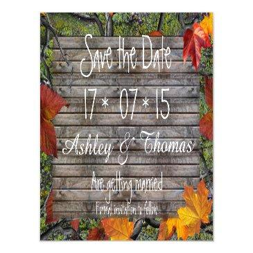 save the date rustic wood camo fall leaves magnetic