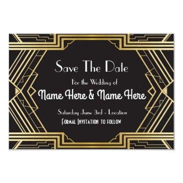save the date wedding party twenties gold invites