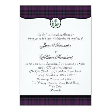 scottish purple tartan plaid & thistle wedding