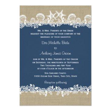 sea garland navy blue wedding invitation