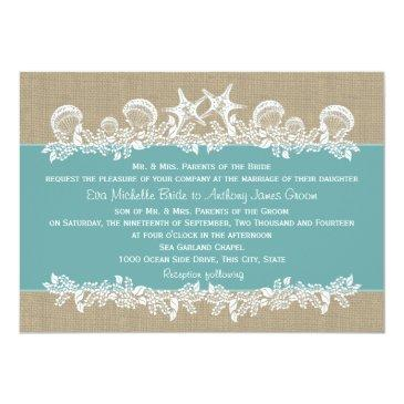 Small Sea Garland Teal Wedding Invitation Front View