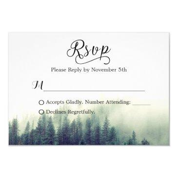 seasonal forest pine trees elegant wedding rsvp