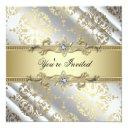 silver gold damask party invitation