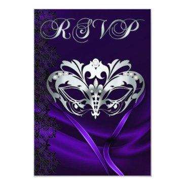 silver masquerade purple jeweled rsvp