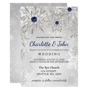silver navy snowflakes winter wedding invitations
