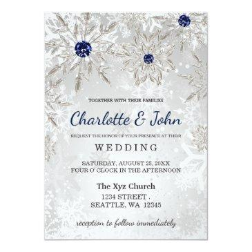Small Silver Navy Snowflakes Winter Wedding Invitation Front View
