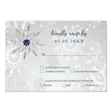 silver navy snowflakes winter wedding rsvp