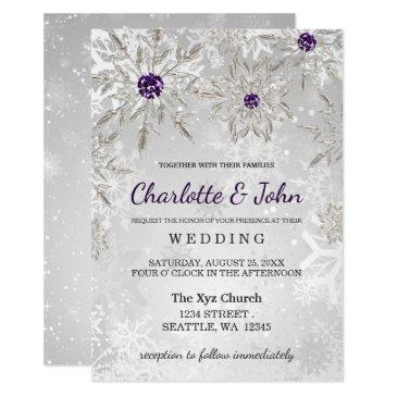 silver purple snowflakes winter wedding