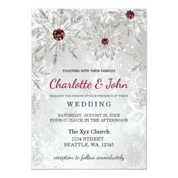 Small Silver Red Snowflakes Winter Wedding Invitations Front View