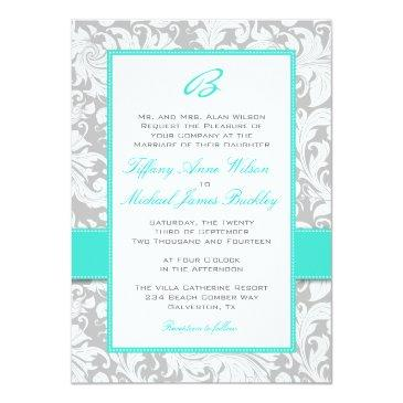silver white damask turquoise wedding