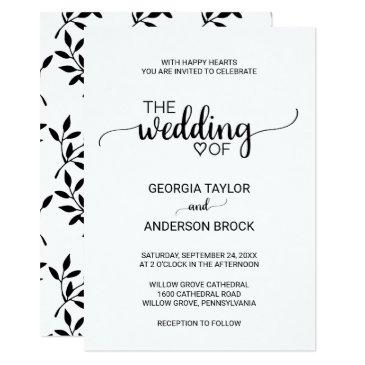 simple black and white modern calligraphy wedding