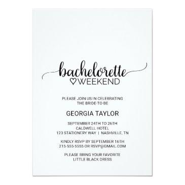 simple black calligraphy bachelorette weekend invitation