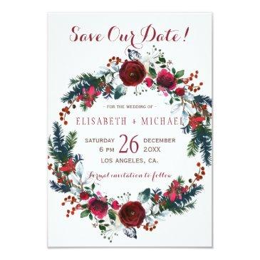 simple chic floral winter wreath save date wedding