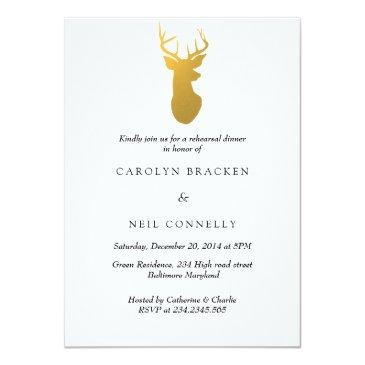 Small Simple Classy Gold Antler Modern Rehearsal Dinner Front View