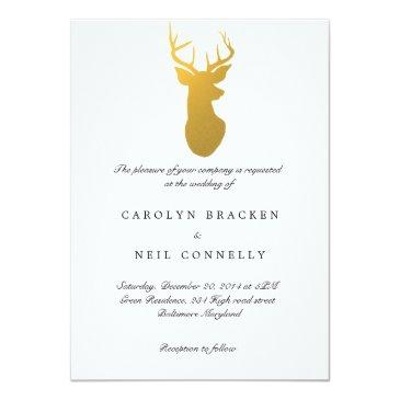Small Simple Classy Gold Antler Modern Wedding Invitation Front View