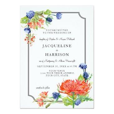 simple floral watercolor fall orange mum thistle 2 invitations