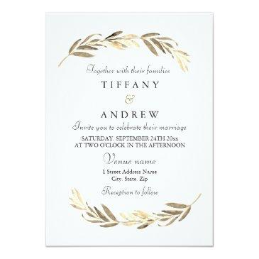 Small Simple Modern Elegant Gold Leaf Wedding Invitation Front View