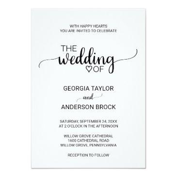 Small Simple Rustic Kraft Modern Calligraphy Wedding Invitationss Front View