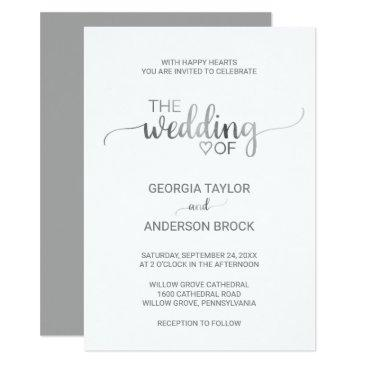 simple silver foil calligraphy wedding