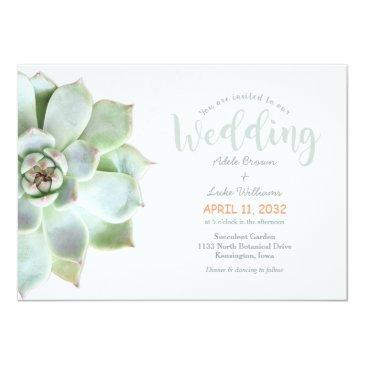Small Simple Succulent Country Wedding Invitation Front View