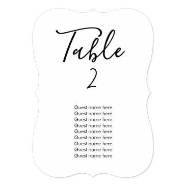 simple wedding table number + guest names invitationss