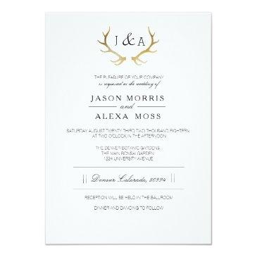 Small Simply Rustic Gold Antler | Elegant Wedding Invitationss Front View