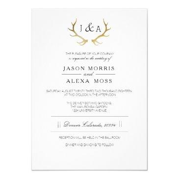simply rustic gold antler | elegant wedding invitation