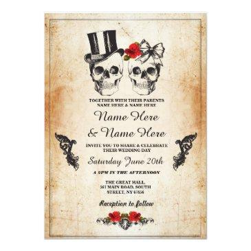 Small Skull Wedding Halloween Sugar Gothic Floral Invite Front View