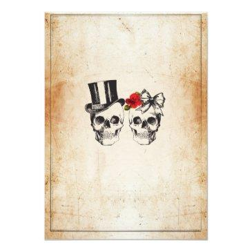 Small Skull Wedding Halloween Sugar Gothic Floral Invite Back View