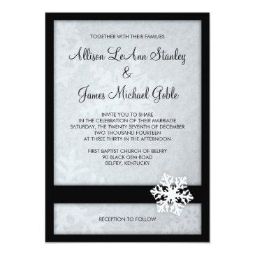 snowflake winter wedding  - black, white