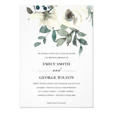 soft ivory white floral watercolor bunch wedding invitation