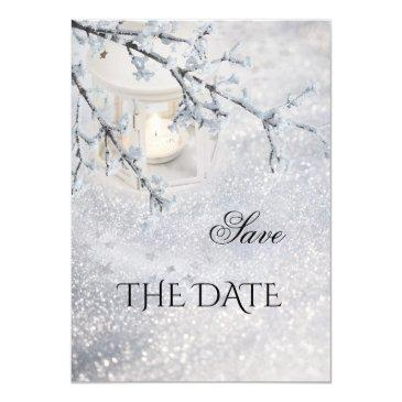 sparkling snow winter wedding save the date