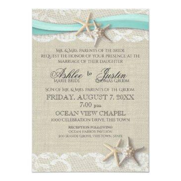 Small Starfish And Lace Rustic Beach Aqua Wedding Invitationss Front View