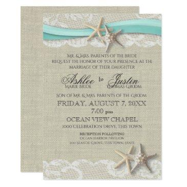 starfish and lace rustic beach aqua wedding invitations