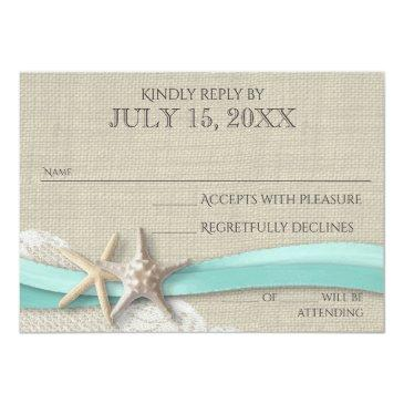 Small Starfish And Lace Rustic Response Invitationss Front View