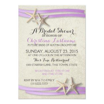 Small Starfish And Purple Ribbon Bridal Shower Invitation Front View