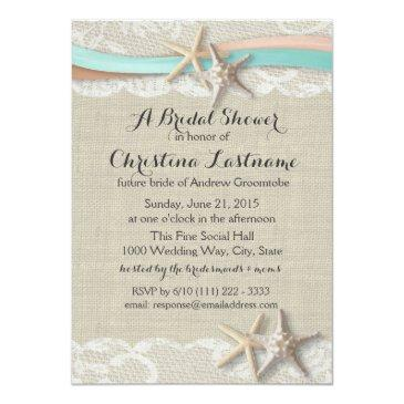 Small Starfish And Ribbon Aqua Peach Bridal Shower Invitation Front View