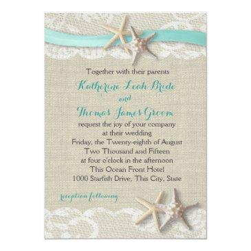 starfish and ribbon beach aqua invitations