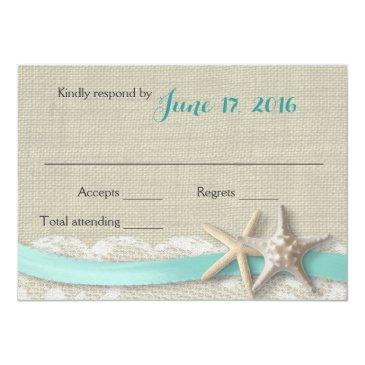 Small Starfish And Ribbon Beach Aqua Rsvp Front View