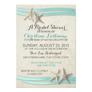 Small Starfish And Ribbon Bridal Shower Invitationss Front View