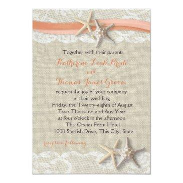 Small Starfish And Ribbon Vintage Beach Coral Wedding Front View
