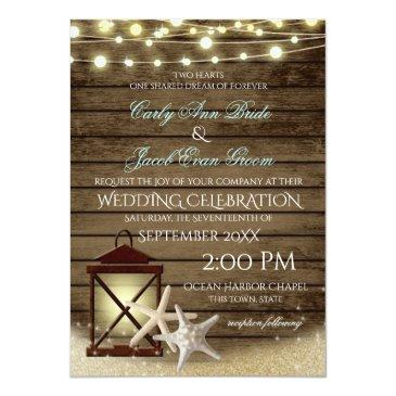 Small Starfish Rustic Ocean Wood And Lights Invitation Front View