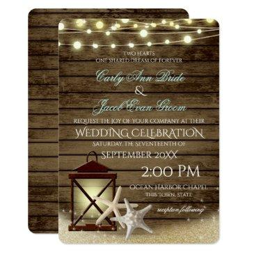 starfish rustic ocean wood and lights invitation