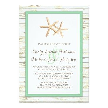 Small Starfish Whitewashed Wood Beach Wedding Front View