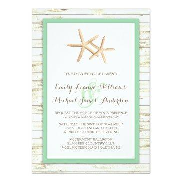 starfish whitewashed wood beach wedding invitations