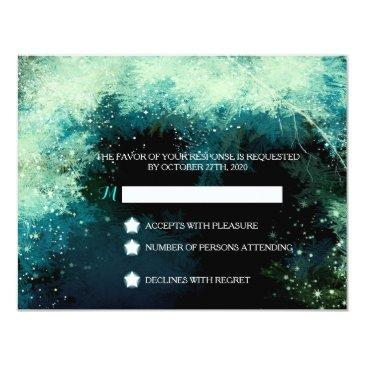 starry forest icy winter wedding rsvp