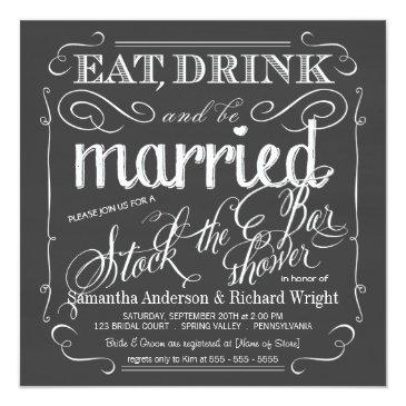Small Stock The Bar Chalkboard Wedding Shower Invitations Front View